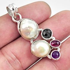 Clearance Sale- 14.99cts natural white pearl amethyst 925 sterling silver pendant jewelry d43952