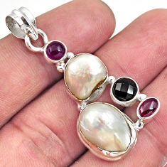 Clearance Sale- 14.61cts natural white pearl amethyst 925 sterling silver pendant jewelry d43954
