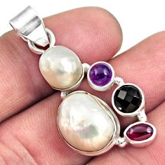 14.57cts natural white pearl amethyst 925 sterling silver pendant jewelry d43956