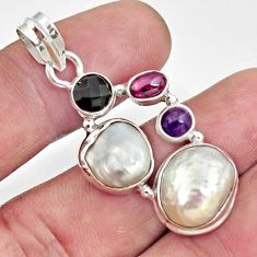 Clearance Sale- 14.61cts natural white pearl amethyst 925 sterling silver pendant jewelry d43957