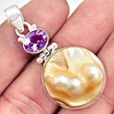 26.16cts natural white pearl amethyst 925 sterling silver pendant jewelry d43995