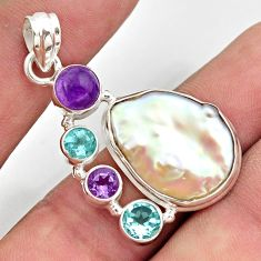 24.00cts natural white pearl amethyst 925 sterling silver pendant jewelry d47416