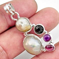 Clearance Sale- 13.36cts natural white pearl amethyst garnet 925 sterling silver pendant d43946