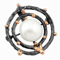 Natural white pearl black rhodium 925 sterling silver 14k gold pendant c24173