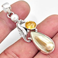 12.04cts natural white pearl citrine pearl 925 silver seahorse pendant d43981