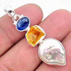 12.58cts natural white pearl citrine raw kyanite 925 silver pendant t25430