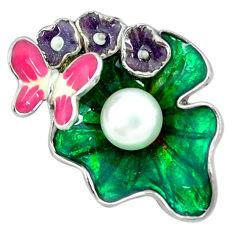 Natural white pearl enamel 925 sterling silver butterfly pendant c16926