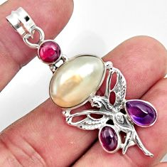 14.77cts natural white pearl garnet 925 silver angel wings fairy pendant d43926