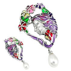 Natural white pearl multi color enamel 925 sterling silver brooch pendant c20807