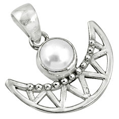 2.53cts natural white pearl round 925 sterling silver half-moon pendant r67752