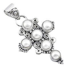 5.77cts natural white pearl round 925 sterling silver holy cross pendant r55911