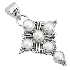 5.56cts natural white pearl round 925 sterling silver holy cross pendant r69413
