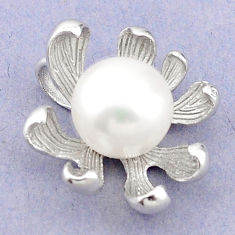 Natural white pearl round 925 sterling silver pendant jewelry c23857