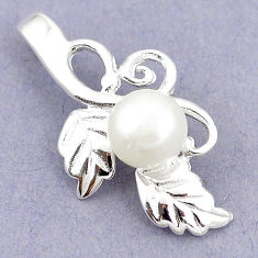 Natural white pearl round 925 sterling silver pendant jewelry c24134