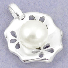 Natural white pearl round 925 sterling silver pendant jewelry c24136