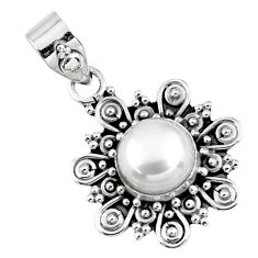 3.01cts natural white pearl round 925 sterling silver pendant jewelry r57648