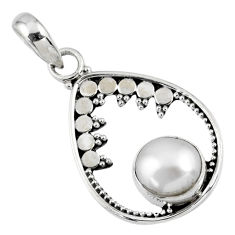 3.01cts natural white pearl round 925 sterling silver pendant jewelry r57692