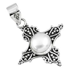 3.29cts natural white pearl round 925 sterling silver pendant jewelry r57716