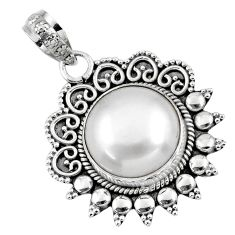 9.31cts natural white pearl round 925 sterling silver pendant jewelry r57816