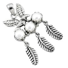 3.44cts natural white pearl round sterling silver dreamcatcher pendant r67735