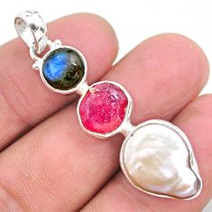 13.09cts natural white pearl ruby raw labradorite 925 silver pendant t25434