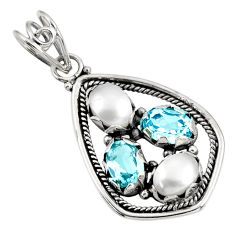 Clearance Sale- 6.03cts natural white pearl topaz 925 sterling silver pendant jewelry d39426