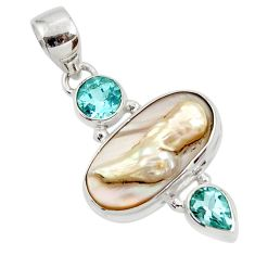 Clearance Sale- 13.15cts natural white pearl topaz 925 sterling silver pendant jewelry d45382