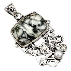 17.69cts natural white pinolith 925 silver angel wings fairy pendant d44213