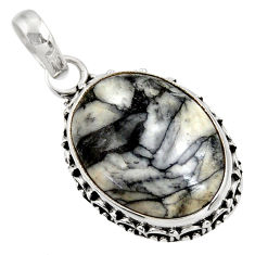 Clearance Sale- 16.20cts natural white pinolith 925 sterling silver pendant jewelry d39366