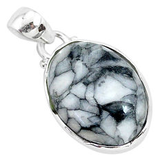 11.73cts natural white pinolith 925 sterling silver pendant jewelry r94450
