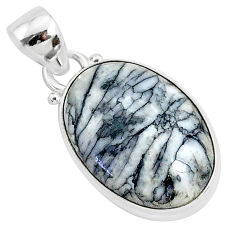 10.58cts natural white pinolith 925 sterling silver pendant jewelry r94453