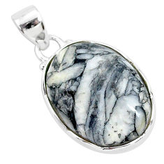 11.73cts natural white pinolith 925 sterling silver pendant jewelry r94455