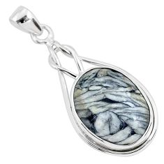 15.65cts natural white pinolith 925 sterling silver pendant jewelry r94477