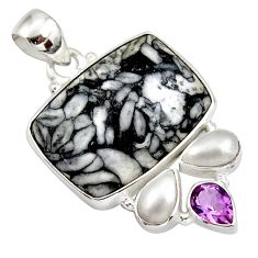 Clearance Sale- 25.57cts natural white pinolith amethyst 925 sterling silver pendant d42363
