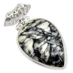 25.00cts natural white pinolith pear 925 sterling silver pendant jewelry d42367