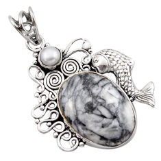 16.70cts natural white pinolith pearl 925 sterling silver fish pendant d46726