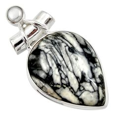Clearance Sale- 24.38cts natural white pinolith pearl 925 sterling silver pendant jewelry d42365