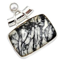 30.49cts natural white pinolith pearl 925 sterling silver pendant jewelry d42368