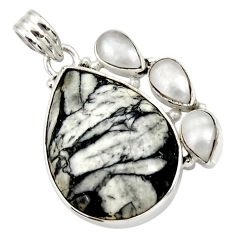 Clearance Sale- 25.06cts natural white pinolith pearl 925 sterling silver pendant jewelry d42369