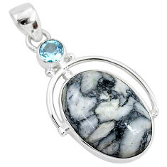 14.23cts natural white pinolith topaz 925 sterling silver pendant jewelry r94441