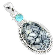 14.12cts natural white pinolith topaz 925 sterling silver pendant jewelry r94442