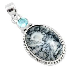 13.15cts natural white pinolith topaz 925 sterling silver pendant jewelry r94458