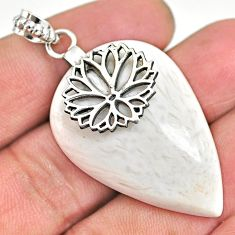 34.51cts natural white scolecite high vibration crystal silver pendant r91148
