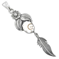 4.40cts natural white shiva eye 925 silver dreamcatcher pendant r67552