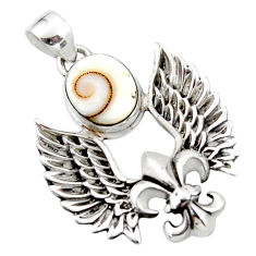 4.49cts natural white shiva eye 925 silver feather charm pendant jewelry r52878