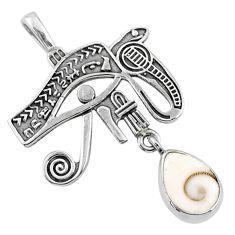 2.55cts natural white shiva eye 925 silver horse eye pendant jewelry r67575