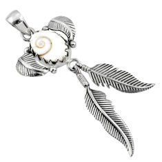 4.71cts natural white shiva eye 925 sterling silver dreamcatcher pendant r67667