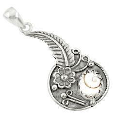 3.91cts natural white shiva eye 925 sterling silver flower pendant r67762