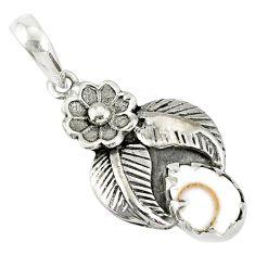 2.09cts natural white shiva eye 925 sterling silver flower pendant r77753