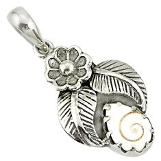 2.44cts natural white shiva eye 925 sterling silver flower pendant r77756